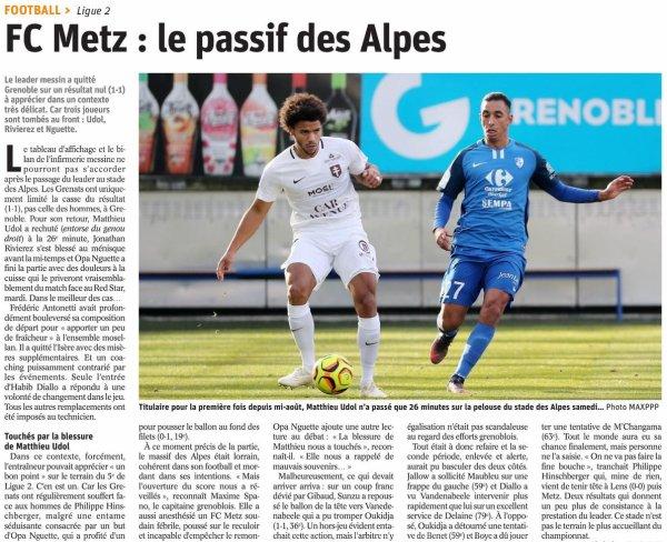 2018 Ligue 2 J16 GRENOBLE METZ 1-1, le 01/12/2018