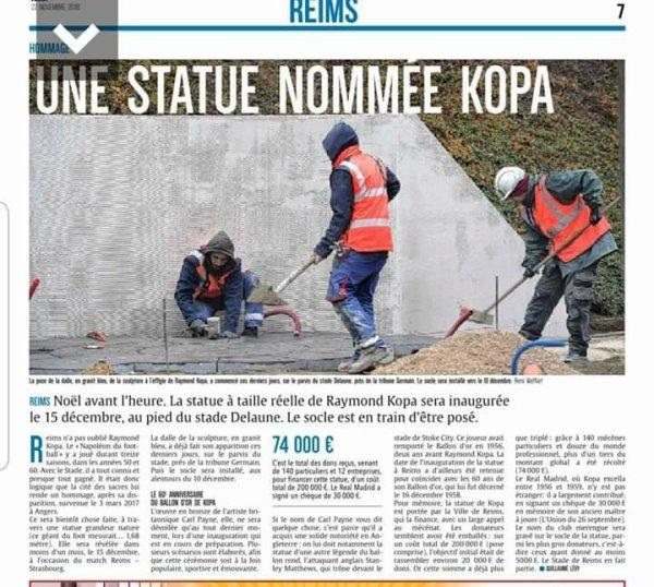 2018 REIMS : UNE STATUE pour KOPA, le 15/12/2018