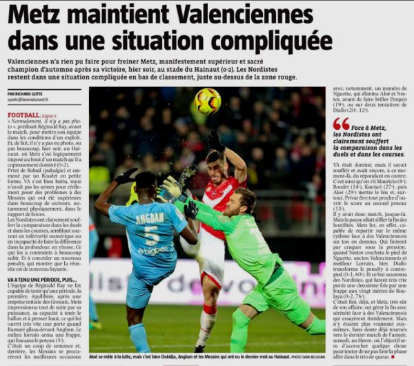2018 Ligue 2 J18 VALENCIENNES METZ 0-2 , le 17/12/2018
