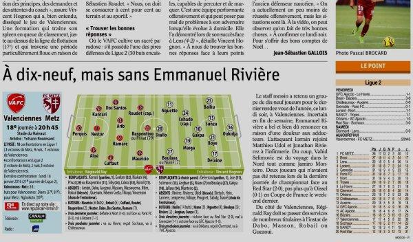 2018 Ligue 2 J18 VALENCIENNES METZ 0-2 , le 17/12/2018