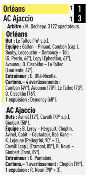 2018 Ligue 2 J18 ORLEANS AJACCIO 1-3, le 14/12/2018