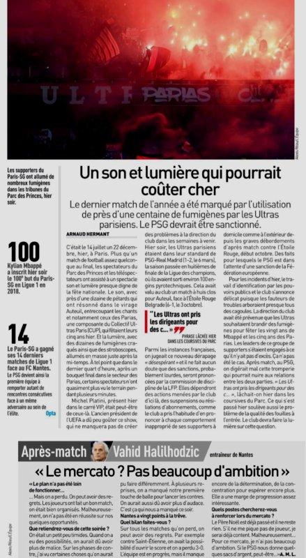 2018 Ligue 1 J19 PSG NANTES 1-0, le 22/12/2018