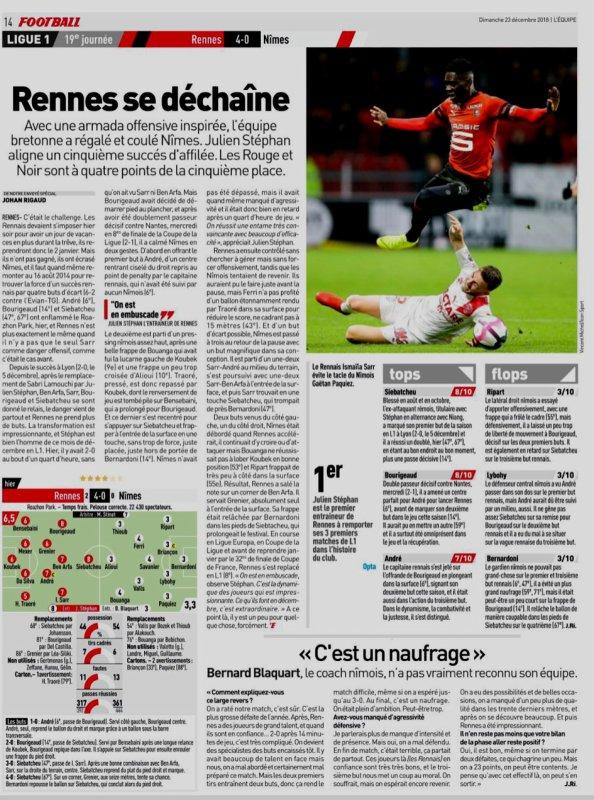 2018 Ligue 1 J19 RENNES NÎMES 4-0, le 22/12/2018
