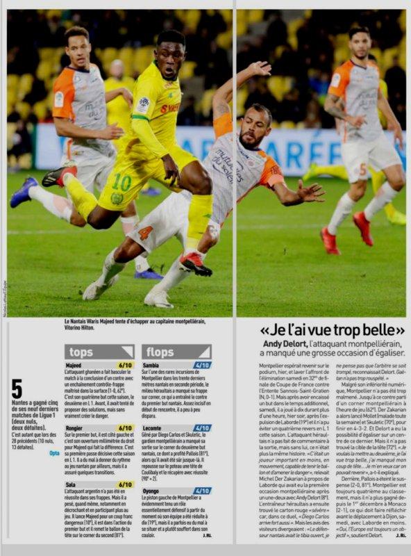 2018 Ligue J18 ( après J19) NANTES MONTPELLIER 2-0, le 08/01/2019