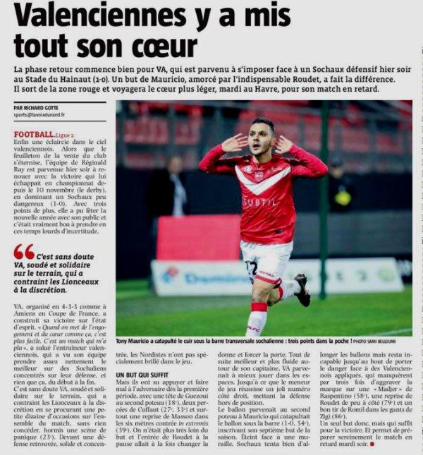 2018 Ligue 2 J20 VALENCIENNES SOCHAUX 1-0, le 11/01/2019