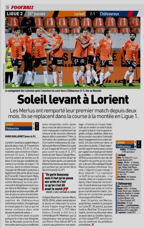 2018 Ligue 2 J20 LORIENT CHÂTEAUROUX 2-1, le 11/01/2019