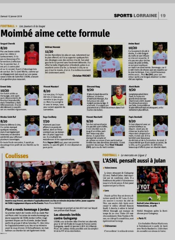 2018 Ligue 2 J20 NANCY PARIS FC 1-2, le 11/01/2019