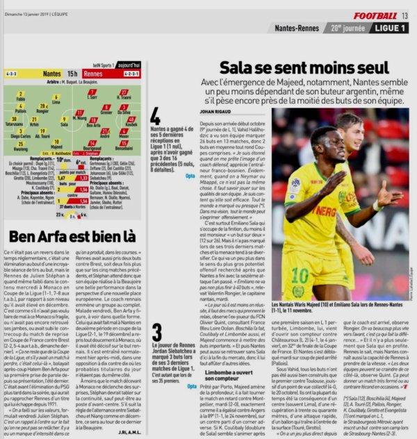 2018 Ligue 1 J20 NANTES RENNES 0-1, le 13/01/2019