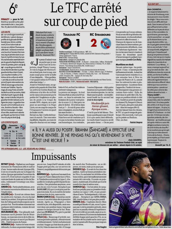 2018 Ligue 1 J20 TOULOUSE STRASBOURG 1-2, le 13/01/2019