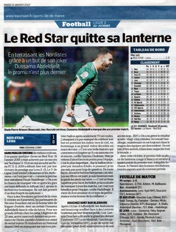 2018 Ligue 2 J20 RED STAR LENS 1-0 , le 14/01/2019
