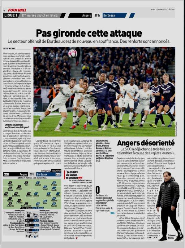 2018 Ligue 1 J17 (Joué après J20 ) ANGERS BORDEAUX 1-2, le 15/01/2019