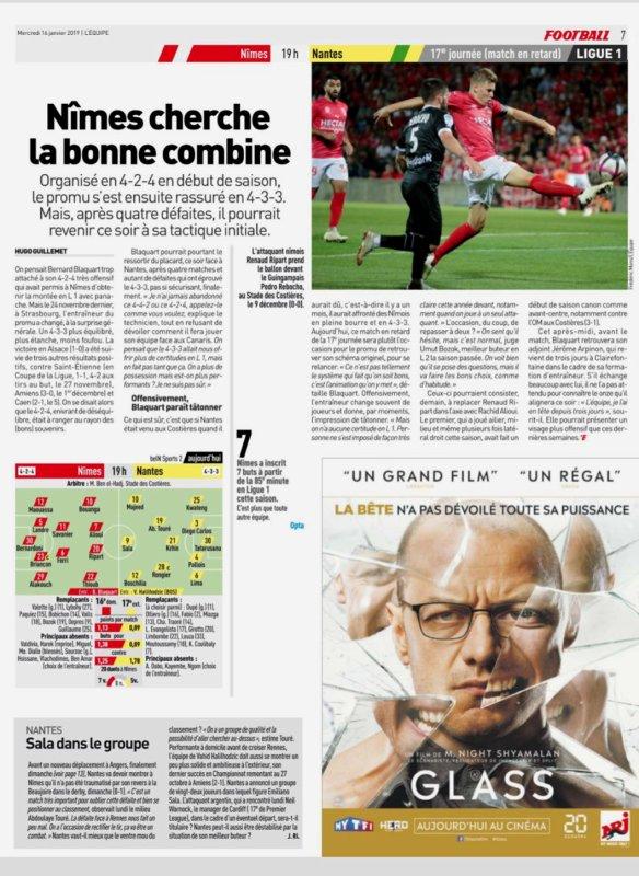 2018 Ligue 1 J17 (Joué après J20 ) NÎMES NANTES 1-0, le 16/01/2019