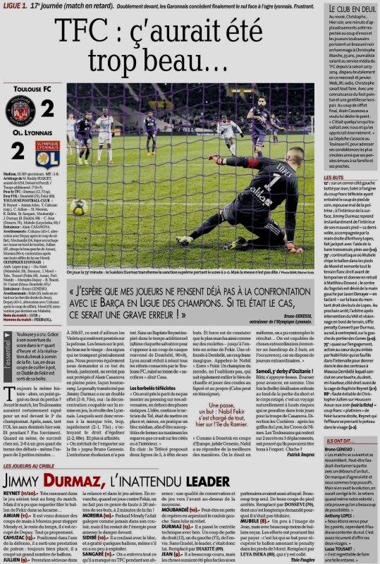 2018 Ligue 1 J17 (Joué après J20 ) TOULOUSE LYON 2-2, le 16/01/2019