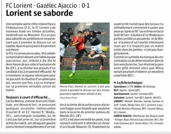 2018 Ligue 2 J21 LORIENT GAZELEC 0-1, le 18/01/2019