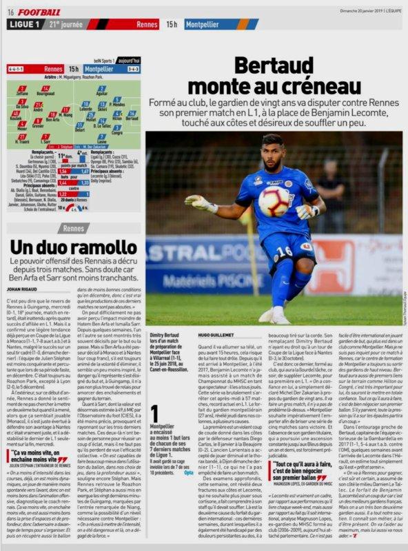 2018 Ligue 1 J21 RENNES MONTPELLIER 0-0, le 20/01/2019