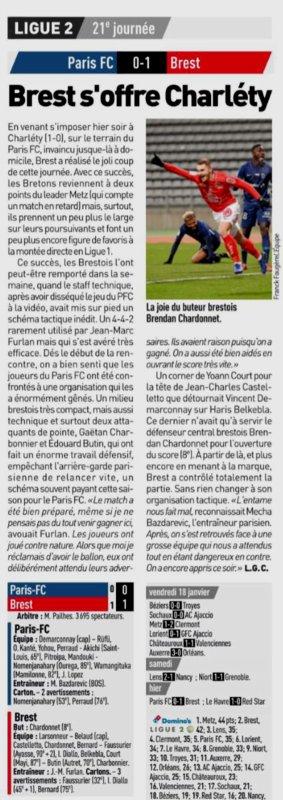 2018 Ligue 2 J21 PARIS FC BREST 0-1, le 21/01/2019