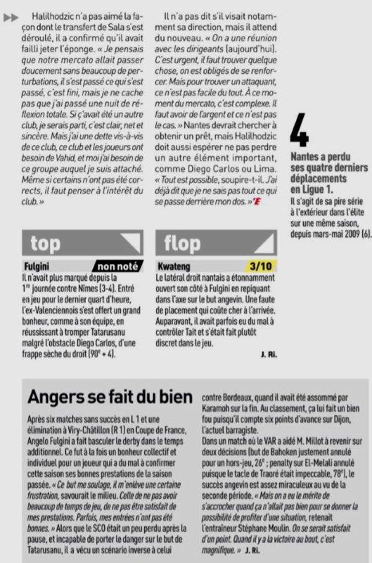 2018 Ligue 1 J21 ANGERS NANTES 1-0, le 20/01/2019