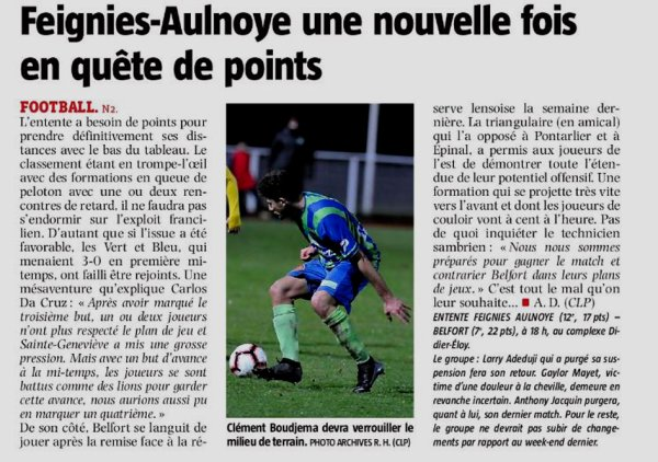 2018 NATIONAL 2 J17 FEIGNIES-AUNLOYE BELFORT 1-0, le 19/01/2019