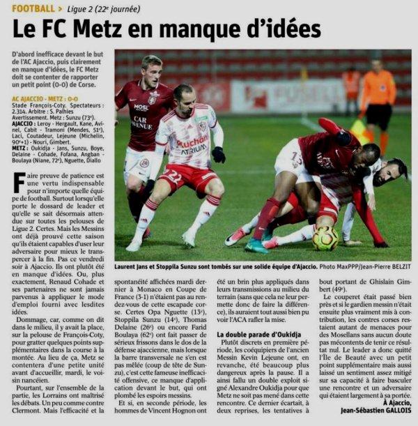 2018 Ligue 2 J22 AJACCIO METZ 0-0, le 25/01/2019