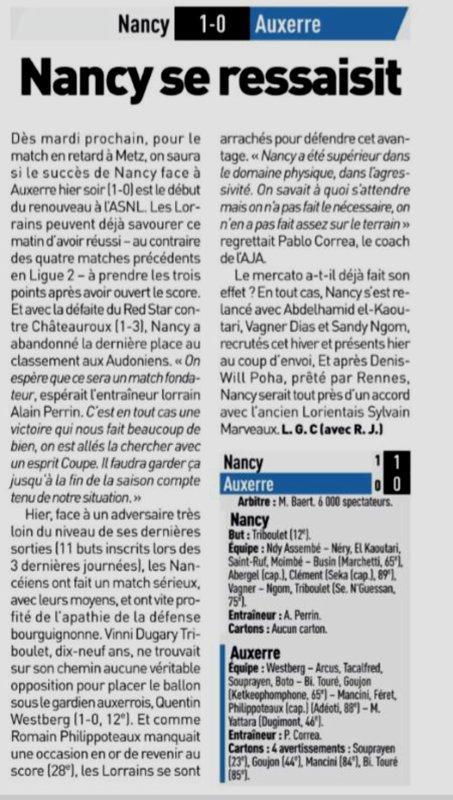 2018 Ligue 2 J22 NANCY AUXERRE 1-0, le 25/01/2019