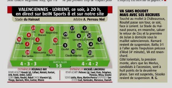 2018 Ligue 2 J22 VALENCIENNES LORIENT 1-2, le 25/01/2019