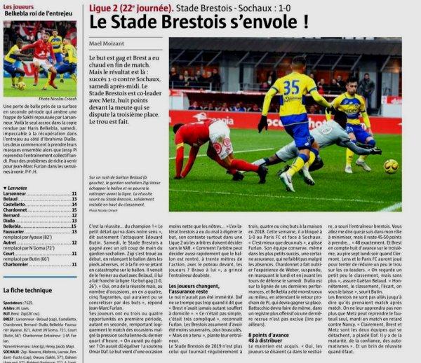 2018 Ligue 2 J22 BREST SOCHAUX1-0, le 26/01/2019