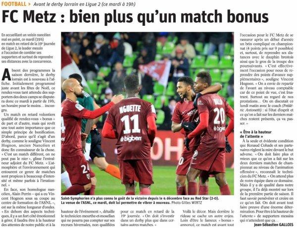 2018 Ligue 2 J19 ( après J22) METZ NANCY, l'avant match, le 29/01/2019