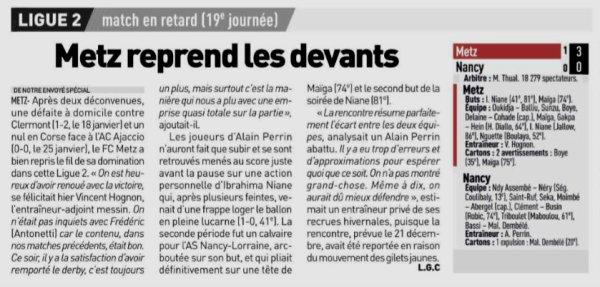 2018 Ligue 2 J19 ( après J22) METZ NANCY 3-0, le 29/01/2019