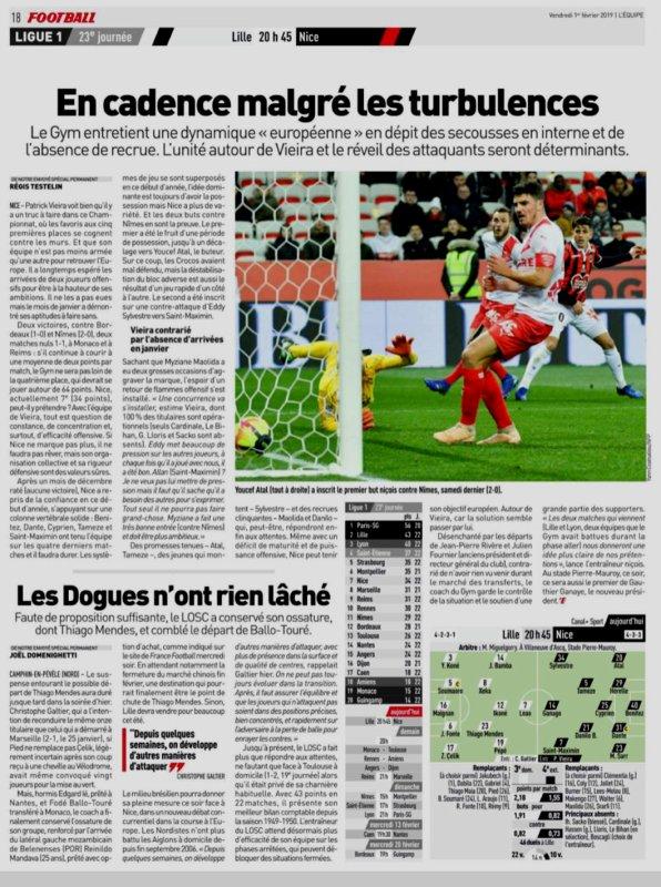20018 Ligue 1 J23 LILLE NICE 4-0 , le 01/02/2019