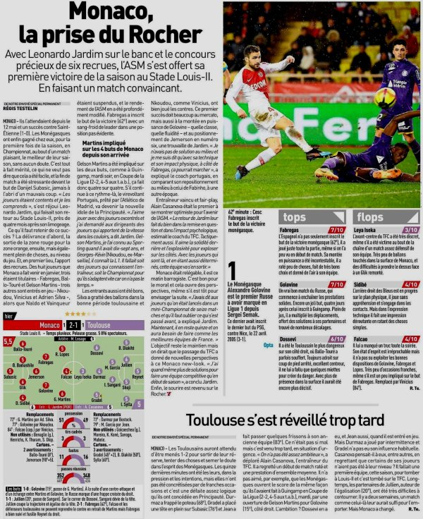 2018 Ligue 1 J23 MONACO TOULOUSE 2-1 , le 02/02/2019