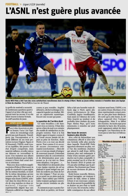2018 Ligue 2 J23 NIORT NANCY 1-1, le 01/02/2019