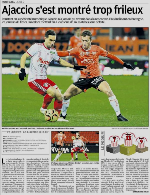 2018 Ligue 2 J23 LORIENT AJACCIO 1-0, le 01/02/2019