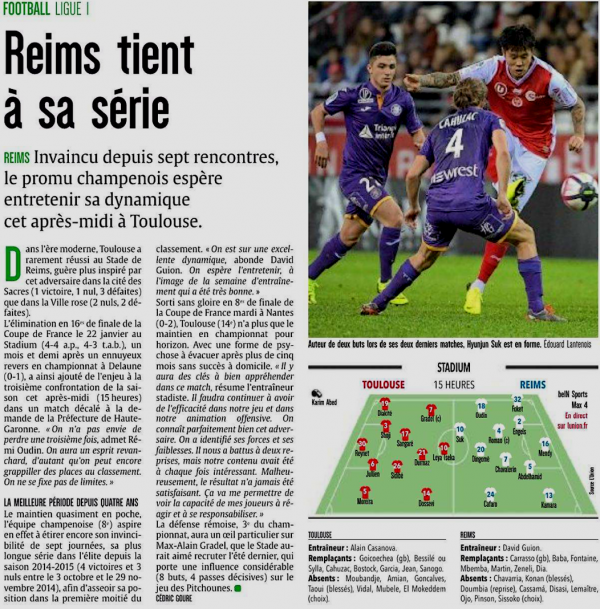 2018 Ligue 1 J24 TOULOUSE REIMS, l'avant match , le 10/02/2019
