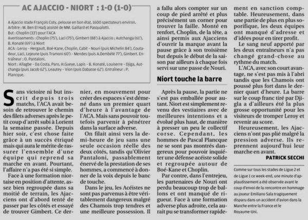 2018 Ligue 2 AJACCIO NIORT 1-0, le 08/02/2019