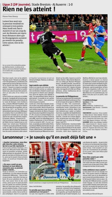 2018 Ligue 2 J24 BREST AUXERRE 1-0, le 11/02/2019