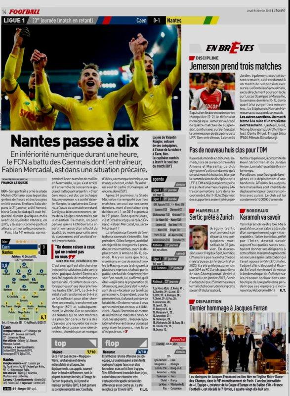 2018 Ligue 1 J23 ( joué après J24) CAEN NANTES 0-1, le 13/02/2019