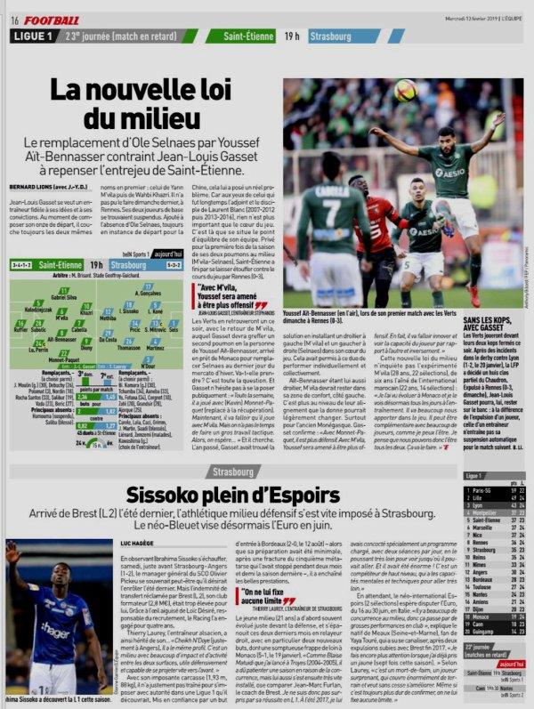 2018 Ligue 1 J23 ( joué après J24) SAINT-ETIENNE STRASBOURG 2-1, le 13/02/2019
