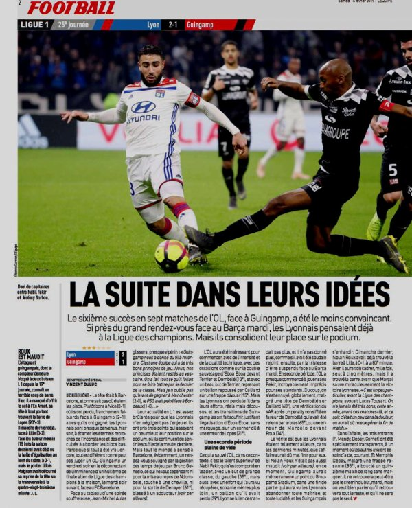 2018 Ligue 1 J25 LYON GUINGAMP 2-1, le 15/02/2019