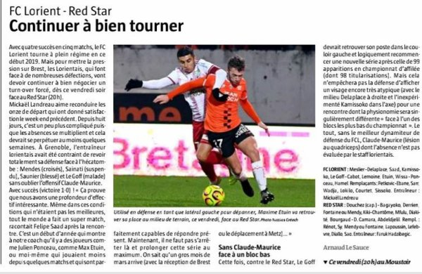 2018 Ligue 2 J25 LORIENT RED STAR 2-1, le 15/02/2019