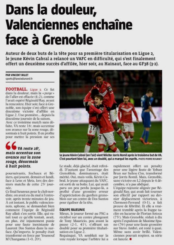 2018 Ligue 2 J25 VALENCIENNES GRENOBLE 3-2, le 15/02/2019