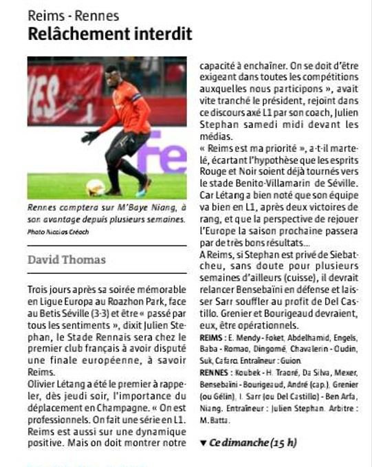 2018 Ligue 1 J25 REIMS RENNES , l'avant match, le 16/02/2019