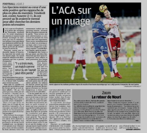 2018 Ligue 2 J26 AJACCIO AUXERRE 2-1, le 22/02/2019