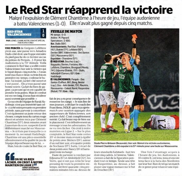 2018 Ligue 2 J26 RED STAR VALENCIENNES 1-0 , le 22/02/2019
