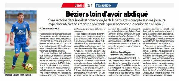 2018 Ligue 2 BEZIERS CHÂTEAUROUX 1-1, le 22/02/2019
