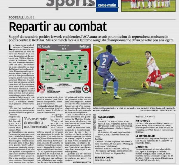 2018 Ligue 2 J28 AJACCIO RED STAR 0-0, le 08/03/2019