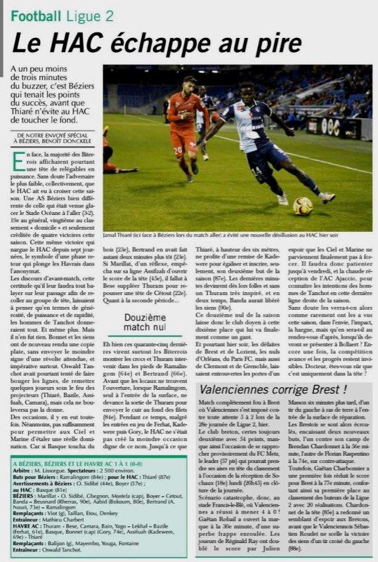 2018 Ligue 2 J28 BEZIERS LE HAVRE , le 08/03/2019