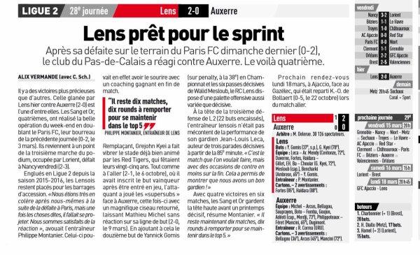 2018 Ligue 2 J28 LENS AUXERRE 2-0, le 09/03/2019