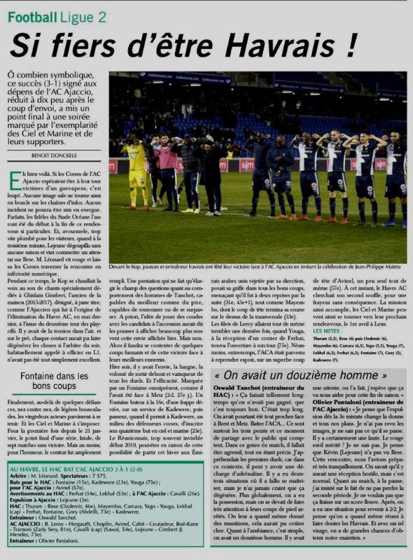 2018 Ligue 2 J29 LE HAVRE AJACCIO 3-1, le 15/03/2019