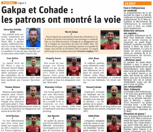 2018 Ligue 2 J29 NIORT METZ 0-3 , le 15/03/2019