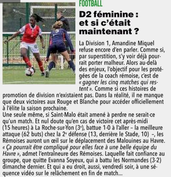 2018 D2 Féminines J18 LA ROCHE SUR YON REIMS 0-0, le 24/03/2019
